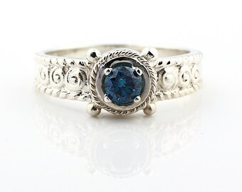 Natural Blue Diamond Solid 14K White Gold Diamond Antique Style   Ring - Gem1