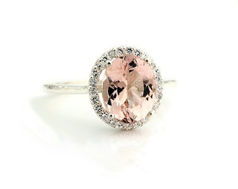 Natural AAA Pink Morganite  Solid 14K White Gold Diamond engagement  Halo Ring - Gem849 - Special