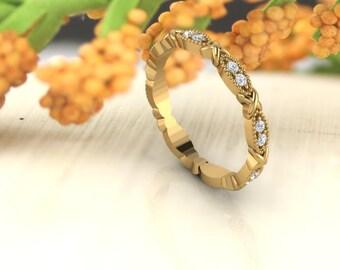 Art Deco Antique Style Diamond /Moissanite Full  Eternity 14K White/Yellow/Rose Gold half Eternity Wedding Band Ring Anniversary Ring