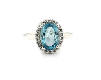 Natural Stunning  10x7 mm Blue Zircon Solid 14K White Gold Diamond Halo Ring - Gem918