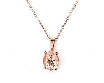 "14k Rose Gold Morganite Pendant Necklace, 18"""