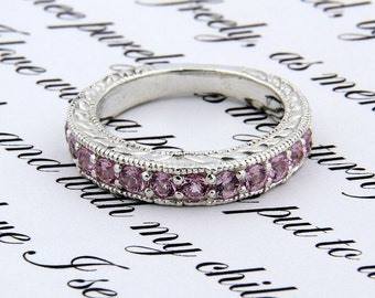 Natural Pink Sapphire Antique wedding Band  Ring in 14k White Gold