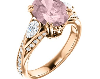 Natural AAA 10x8mm Oval  Morganite  Solid 14K Rose  Gold Diamond Engagement Ring Set ST233161-1504