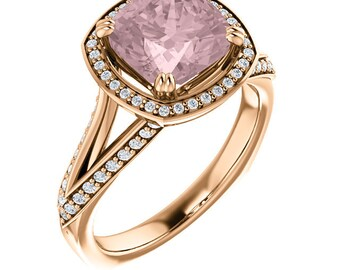 Natural AAA 8mm Cushion Cut Morganite  Solid 14K Rose Gold Diamond halo Engagement Ring Set-ST82793