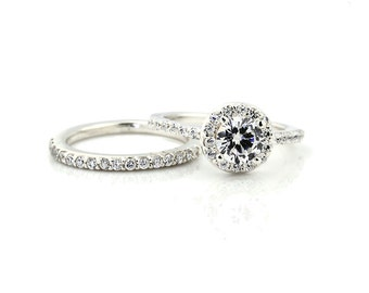 1 carat 6.5mm Round Forever One (GHI) Moissanite Solid 14K White Gold Diamond Engagement Halo Ring - Gem1471