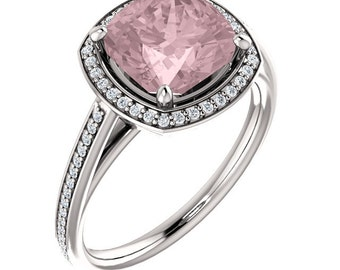 Natural AAA 8mm Antique Cushion Morganite  Solid 14K White Gold Diamond Engagement Ring Set-ST82790