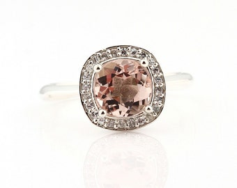 Natural AAA Pink Morganite  Solid 14K White Gold Diamond engagement  Halo Ring - Gem873