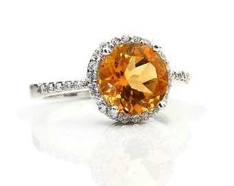 Natural Yellow Citrine Solid 14K White Gold Diamond engagement Ring - Gem789