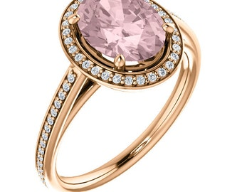 Natural Morganite Ring , Diamond Halo Morganite Engagement Ring , Roes gold, 9x7mm Oval gemstone - ST82790  ( 8x6mm Center Stone Available)