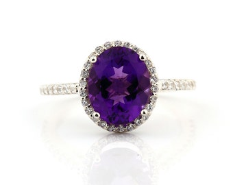Natural Purple Amethyst   Solid 14K White Gold Diamond engagement  Halo Ring - Gem824