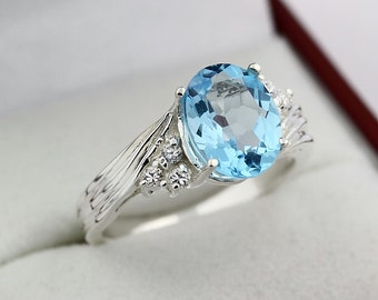 Natural  10x8MM Swiss Blue Topaz Solid 14K White Gold Diamond Ring