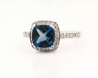 Natural 9x9mm Cushion shape checkerboard cut  London Blue Topaz Solid 14K White Gold Diamond engagement Ring