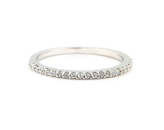 Stackable Pave 14K White Gold Diamond Wedding Half Eternity Matching Band Ring-Gem914***Special***