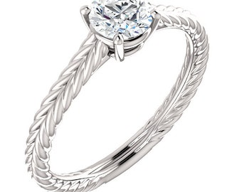 Forever One Moissanite 5mm Round 14K White Gold Twisted Rope  Engagement Ring   **Specail  For  You** Gem1085