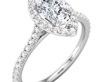 1.77 CTW Marquise Cut 14k Gold  Moissanite and Diamond Accented Cathedral Halo Wedding Ring Set   - ST232972