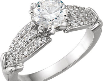 6.5mm  1 ct  Round  Forever One (GHI) Moissanite Solid 14K White Gold Diamond  Engagement  Ring   - ST762707