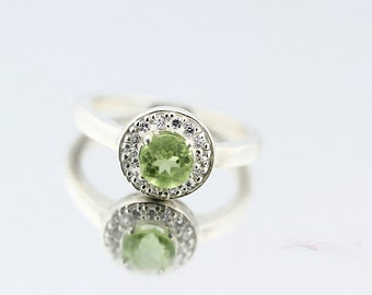 Natural Green Peridot Solid 14K White Gold Diamond Ring - Gem130