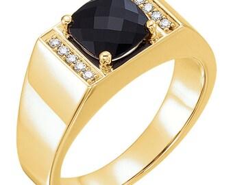 14kt Yellow Gold  /  White Gold Men's Onyx & 1/10 CTW Diamond Ring ST0949