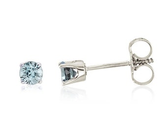 Ready to ship- 14k White/Yellow Gold Genuine Aquamarine  Stud Earrings For Girls.  March Birthstone-- Screw Back Earrings