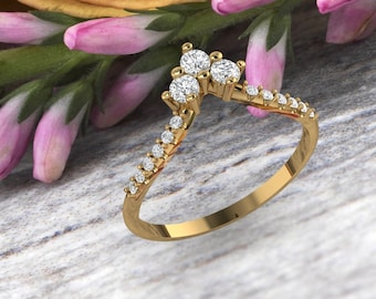 Unique Curved wedding band 14K gold Round Diamond/Moissanite wedding ring stacking matching band Bridal set Promise Gift for women