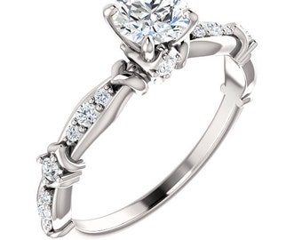 5mm 1/2ct  Round   Forever One (GHI) Moissanite Solid 14K White Gold Diamond  Engagement  Ring   - ST233223