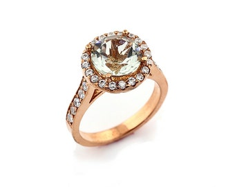 Natural Round  Green amethyst  Solid 14K Rose Gold Diamond engagement Ring
