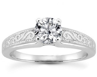1 carat 6.5mm Forever One (GHI) Moissanite  14K White Gold  solitaire  Engagement  Ring - antique style - ENR3244