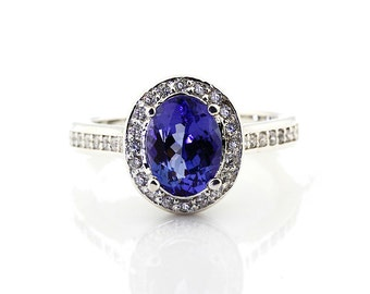 Natural 1.65 cts Oval Cut Tanzanite Solid 14K White Gold Diamond engagement Halo Ring - Gem814