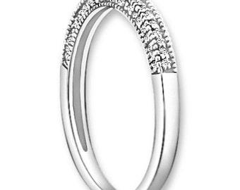 Vintage Style Micro Pave Milgrain Edge Diamond Wedding Ring 14K White/Yellow/Rose Gold half Eternity Wedding Band Aniversary Ring ENS4241