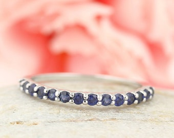 Stackable Half Eternity Blue Sapphire Wedding Band Ring   In 14k White  ,Rose or Yellow Gold ST233988