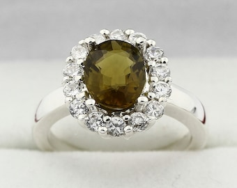 Natural Greenish Yellow  Tourmaline Solid 14K White Gold Diamond Ring Gem610