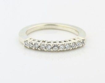Natural White Sapphire Anniversary Ring Wedding Band (Promotion)