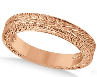 Antique Engraved Wedding Band w/ Filigree & Milgrain 14k Rose  Gold ****Special for you*****-ENS2898