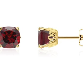 Cushion Natural Garnet Scroll Stud Earring In 14k Yellow Gold Gold -Pair 6mm 2.75 CT