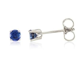 Ready to ship- 14k White/Yellow Gold Genuine Sapphire Stud Earrings For Girls.  September Birthstone-- Screw Back Earrings