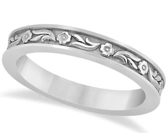 Sculptural Eternity Flower Design Wedding Band in 14k White Gold ****Special for you*****-ENS4611