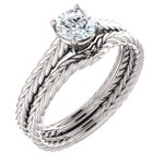 1/2 ct 5mm Forever One (GHI) Moissanite Solid 14K White Gold  Twisted Rope   Engagement  Ring Set  - ST82857