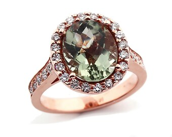 Natural Checkerer Cut  Green Amethyst  Solid 14K Rose Gold Diamond engagement Ring