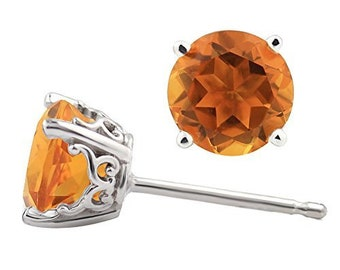 Solid 14k White Gold Gemstone Stud Earrings, 6mm Round each (Citrine)