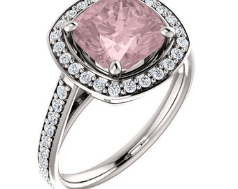 Natural AAA 8mm Antique Cushion Cut Morganite  Solid 14K White   Gold Diamond Engagement Ring Set - ST82753