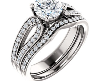 1ct  6.5mm Forever One (GHI) Moissanite Solid 14K White Gold   Engagement  Ring Set  - ST82763