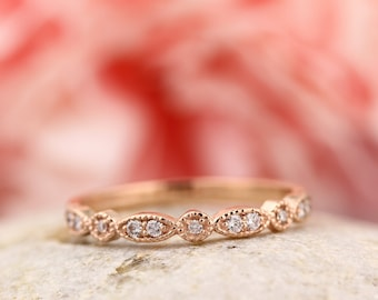 Ready To  Ship - Art Deco Antique Style Diamond Milgrain 14K Rose  Gold half  Eternity Wedding Band Ring Anniversary Ring, Gem924