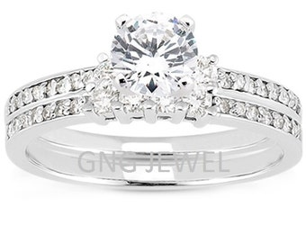 1 carat 6.5mm Round Forever One (GHI) Moissanite Solid 14K White Gold Engagement  Ring set ENS4212