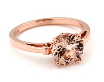 Natural AAA Round 8mm Pink Morganite   Fleur-de-Lis Ring  Solid 14K Rose Gold Diamond engagement  Ring - Gem936