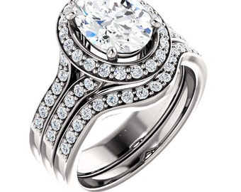 2.50ct  9x7mm Oval  Forever One (GHI) Moissanite  Solid 14K White Gold  Halo-Styled  Engagement  Ring Gem976