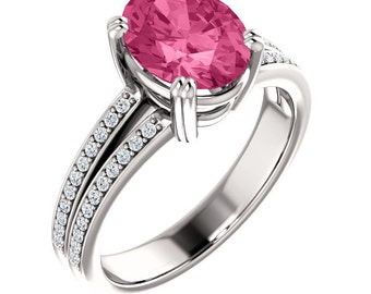 Natural AAA 9x7mm Oval Pink Tourmaline Solid 14K White Gold Diamond  Engagement Ring Set-ST233487