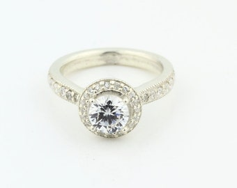 Stunning 1.10 cts  White Sapphire Solid  14k white gold diamond  Ring