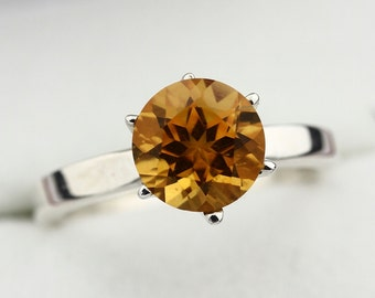 Natural 8mm Yellow Citrine Solid 14K White Gold Ring