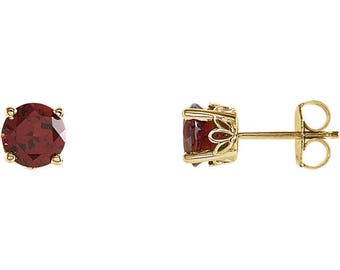 AAA Natural  Garnet  Scroll Design Stud Earring In 14k White Or Yellow Gold  Gold -Pair 6mm Round 1.60CT