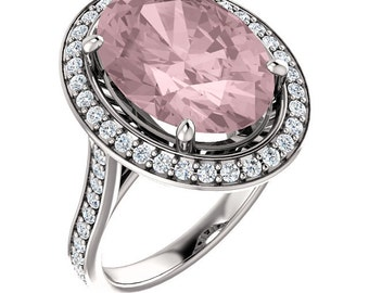 Natural Morganite and Diamond Halo wedding Ring Set In 14K White Gold  -ST82782 With Certified Appraisal